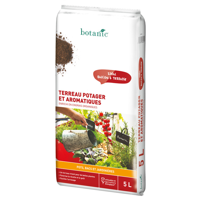 Terreau potager et aromatiques en bacs avec engrais organique  5 L 227050