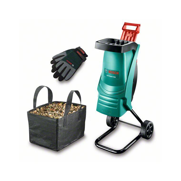 Broyeur de végétaux BOSCH + sac + gants 2200 W 227769