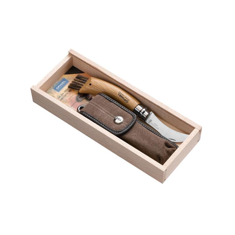 Plumier avec couteau à champignon n°8 en inox Opinel + étui 228442