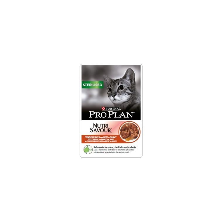 Sachet au bœuf pour chat stérilisé Purina Pro Plan – 85 gr 229354