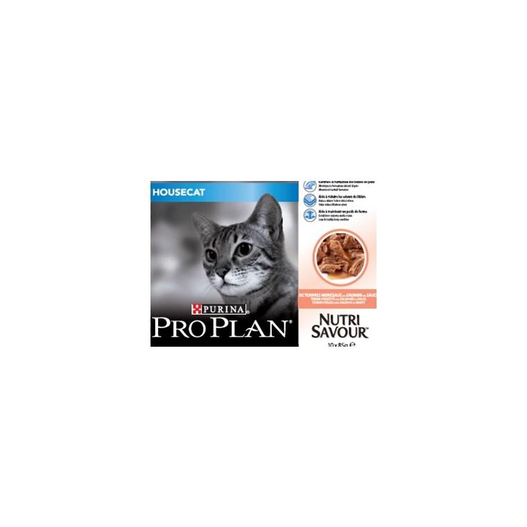 Pâtée pour chat d'intérieur au saumon Pro plan 10 x 85 g 229361
