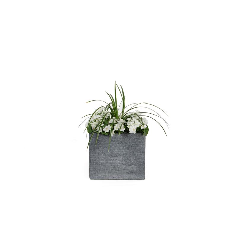 Pot carré bas STREAM S/4 anthracite H.27 cm