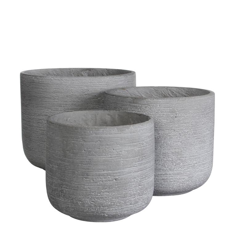 Pot rond STREAM Gris clair Ø.26 x H.23,5 cm 230313