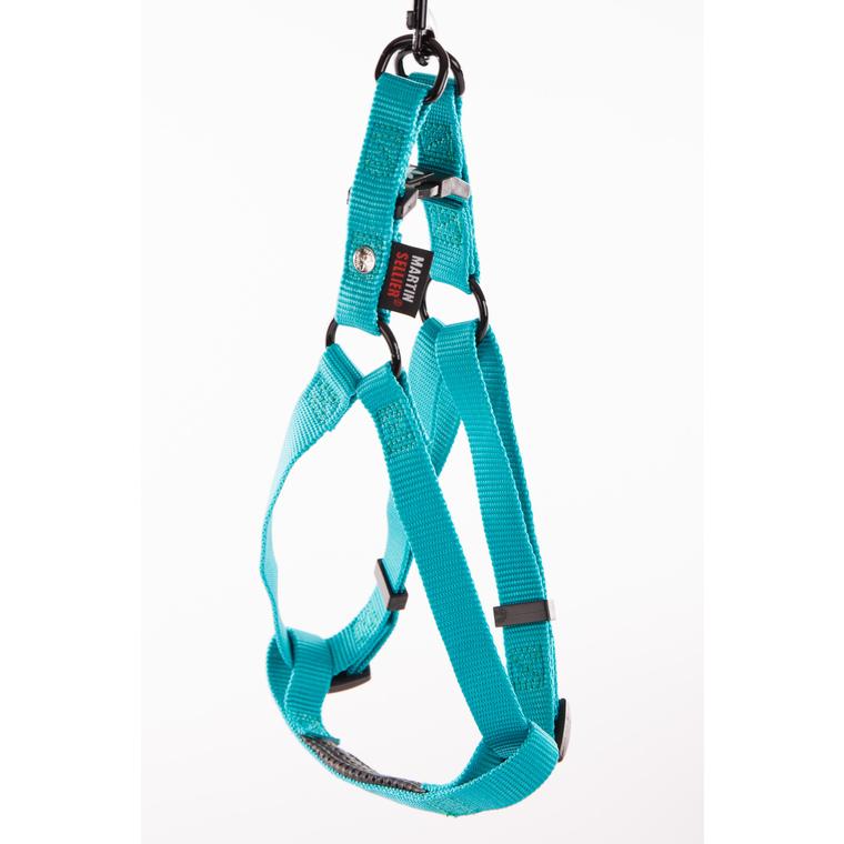 Harnais baudrier réglable turquoise pour chien - 2,5x70/90 cm 232044