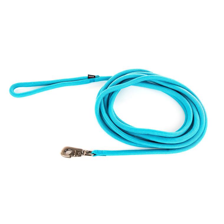 Longe ronde pour chien coloris turquoise 1,3 cm x 5 m 232098