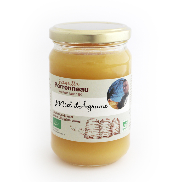 Miel d'agrumes bio dans pot en verre de 375 g