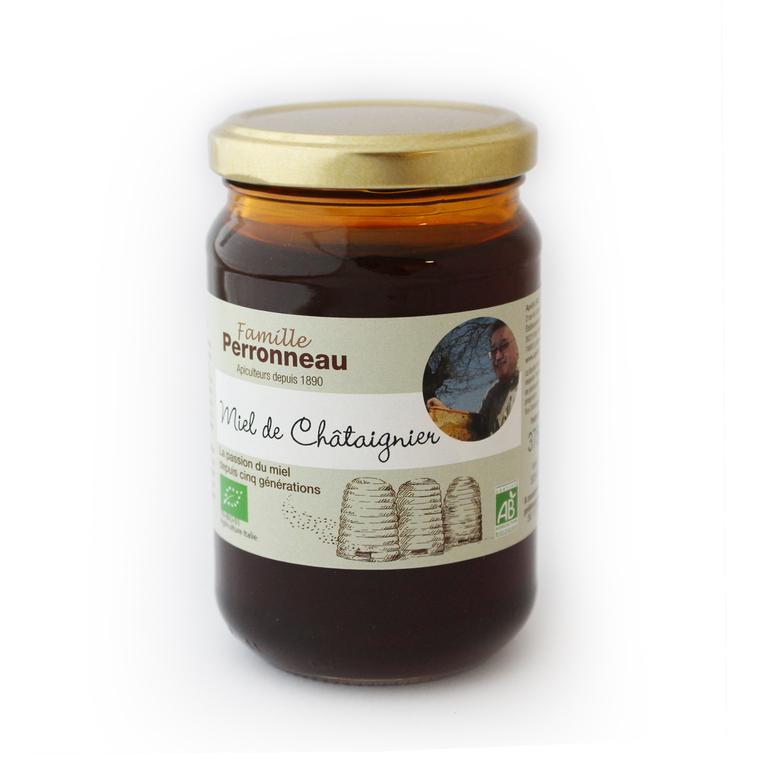 Miel de châtaignier bio dans pot en verre de 375 g