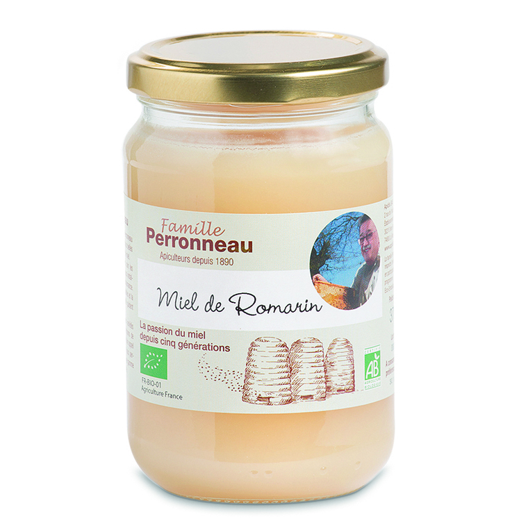 Miel de romarin bio dans pot en verre de 375 g 232754