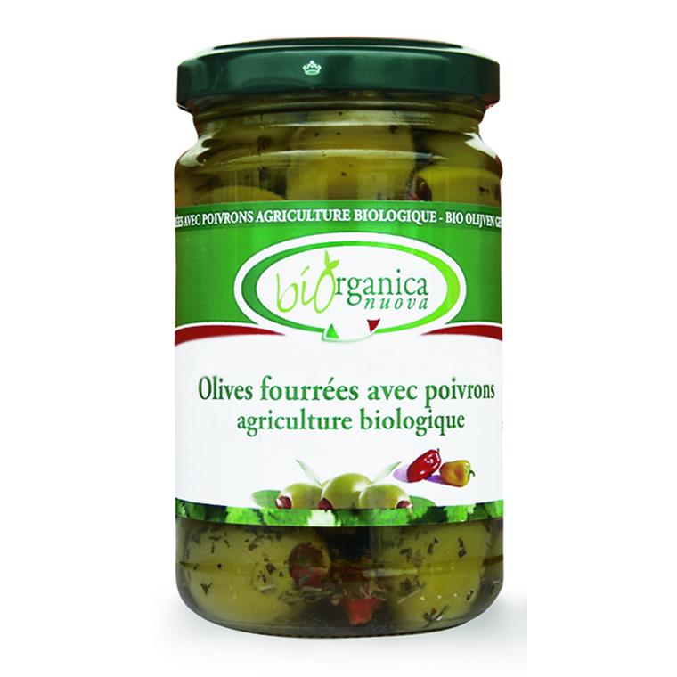 Olives farcies aux poivrons.190 g BIOORGANICA
