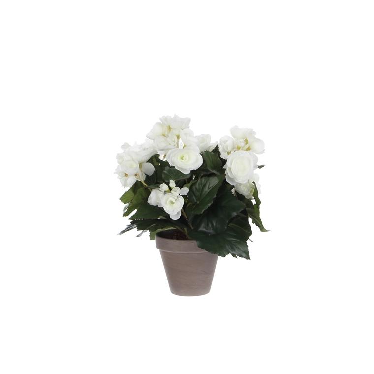 Bégonia blanc plante artificielle en pot gris H 30 x Ø 25 cm 234235