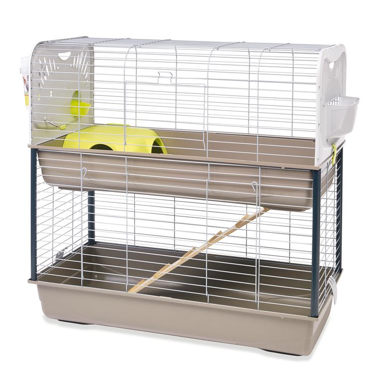 Cage pour lapin ou cobaye Caesar 3 double argent/vert
