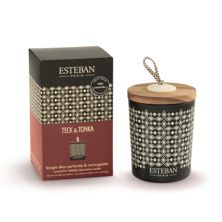 Bougie parfum Rechargeable Teck Tonka ESTEBAN 170 gr