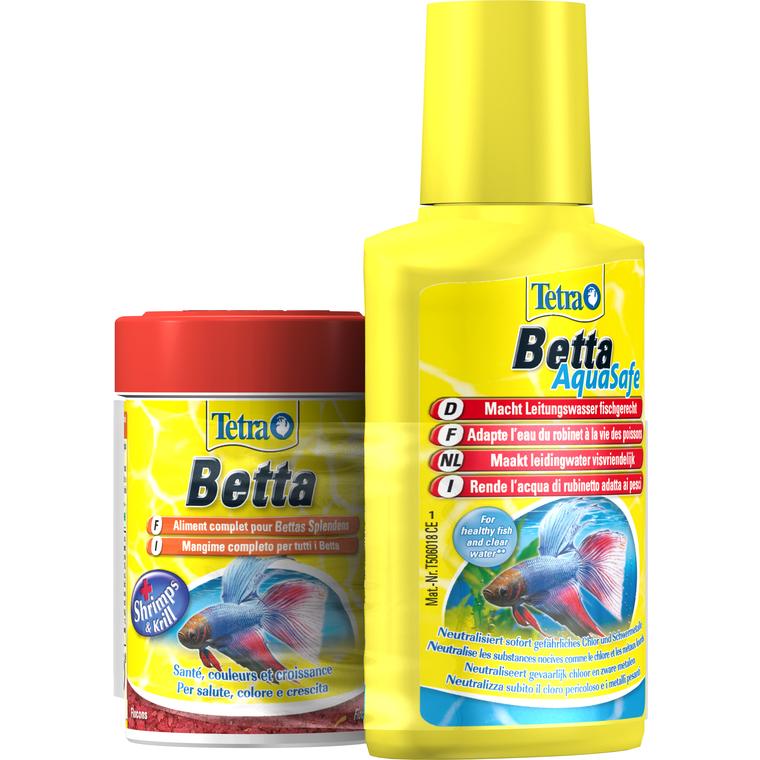 Lot Tetra Betta Flocons 85 ml + Betta Aquasafe 100 ml