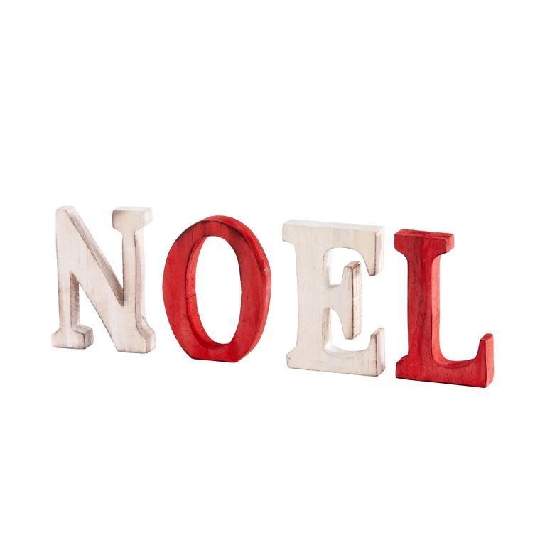 Lettres bois Noël rouge et bois 247100