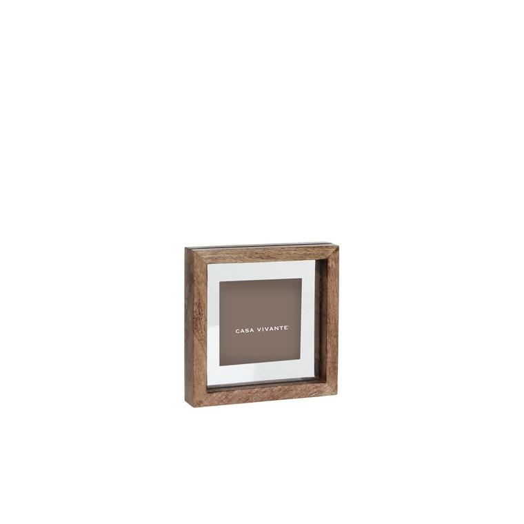 Cadre photo Karna en bois de manguier marron foncé 18x3,5x18 cm 247128