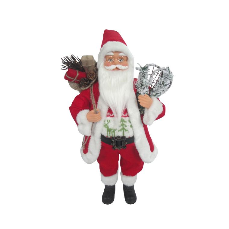 Père Noël avec raquettes 46 cm rouge et blanc 247484