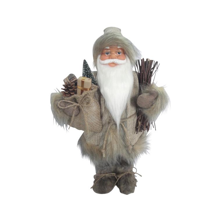 Père Noël gris avec brindilles et cadeaux 247503
