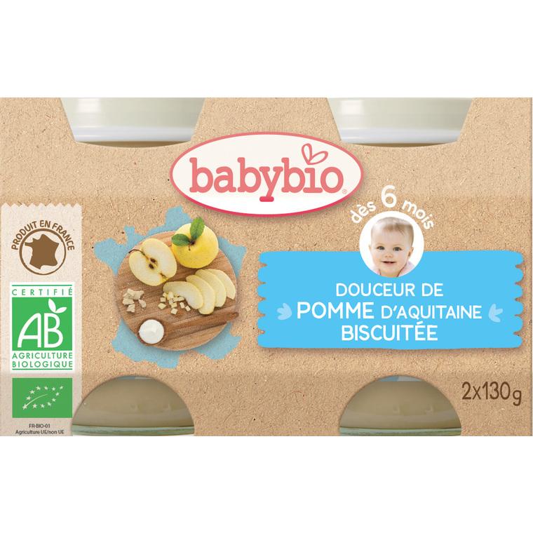 Petits pots douceur pomme et biscuit Babybio 2 x 130 g