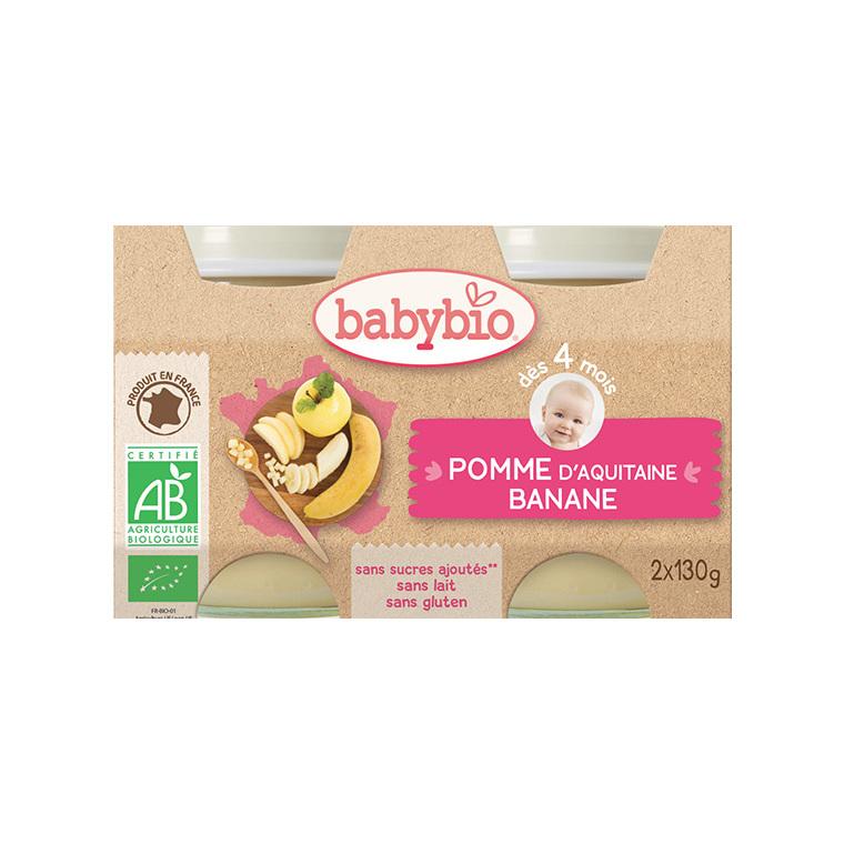 Petits pots pomme et banane Babybio 2 x 130 g 248206