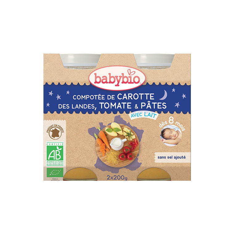 Compotée de carotte tomate et pâtes bonne nuit Babybio 2 x 200 g 248221