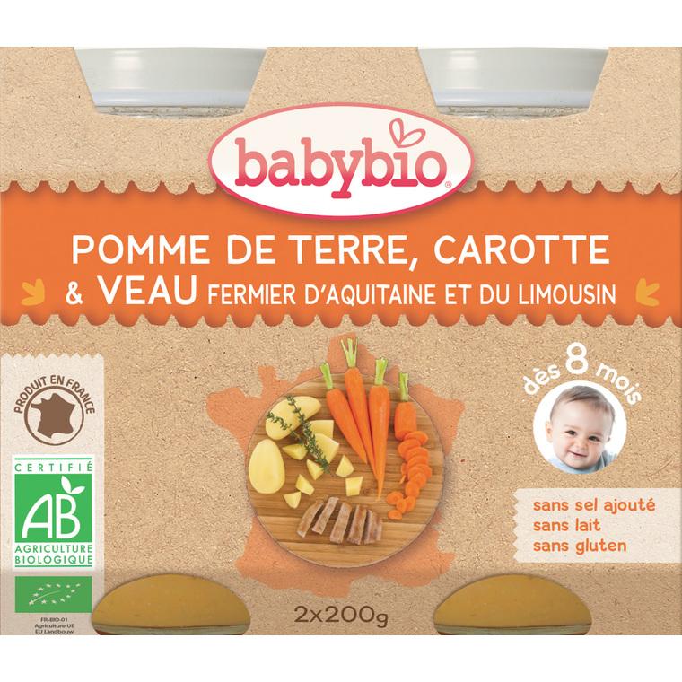 Menu du jour légumes bios et veau fermier Babybio 2 x 200 g 248224