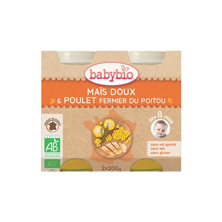 Menu du jour légumes bios et poulet fermier Babybio 2 x 200 g 248225
