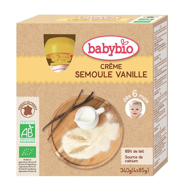 Gourde Crème Semoule Vanille bio dès 6 mois - 4 x 85 gr 248231
