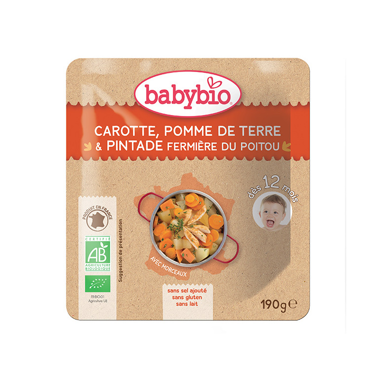 Menu du jour pintade à l'orange Babybio 190 g