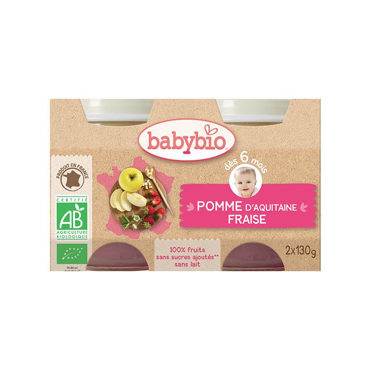 Petits pots pomme fraise mes fruits Babybio 2 x 130 g 248243