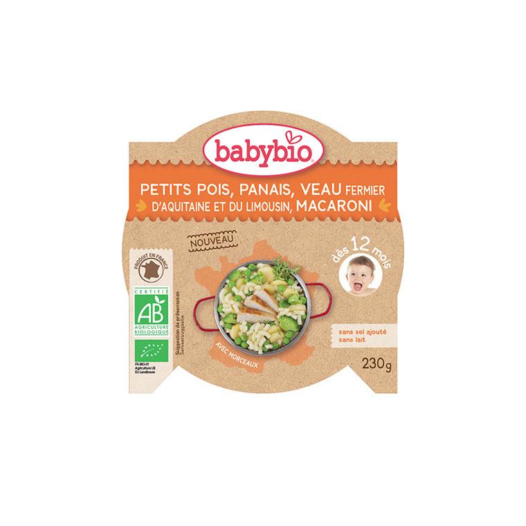 Menu du jour petit pois panais courgette et veau Babybio 2 x 200 g