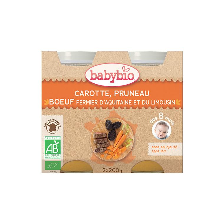 Menu du jour carotte pruneau et bœuf Babybio 2 x 200 g