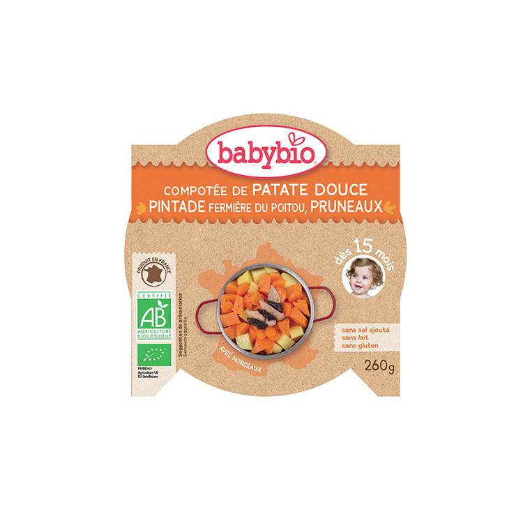 Menu du jour patate douce pintade et pruneau Babybio 260 g 248255