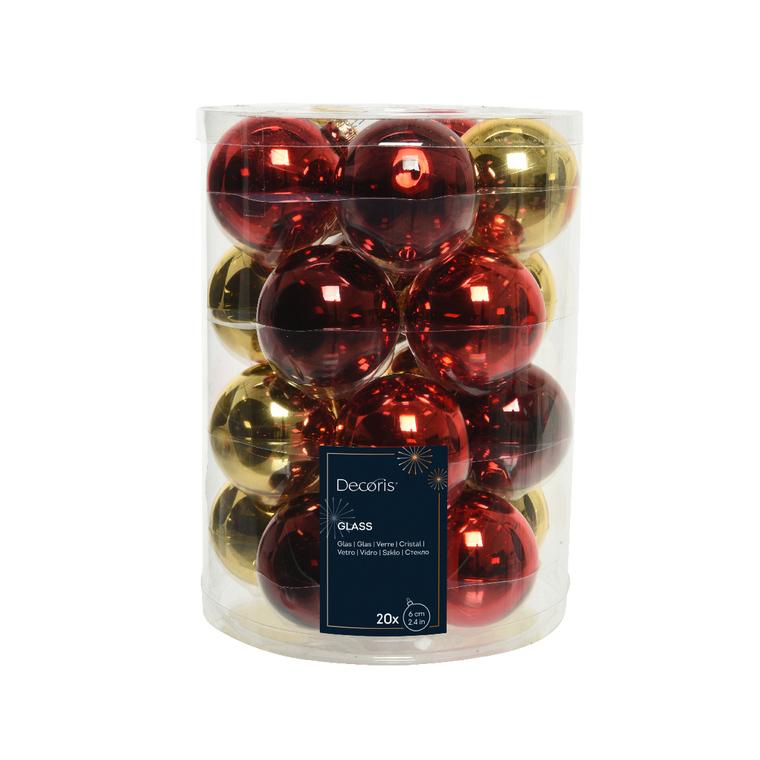 Boules en verre mix Classic Twist Rouge ou Or Ø 6 cm en boite de 20