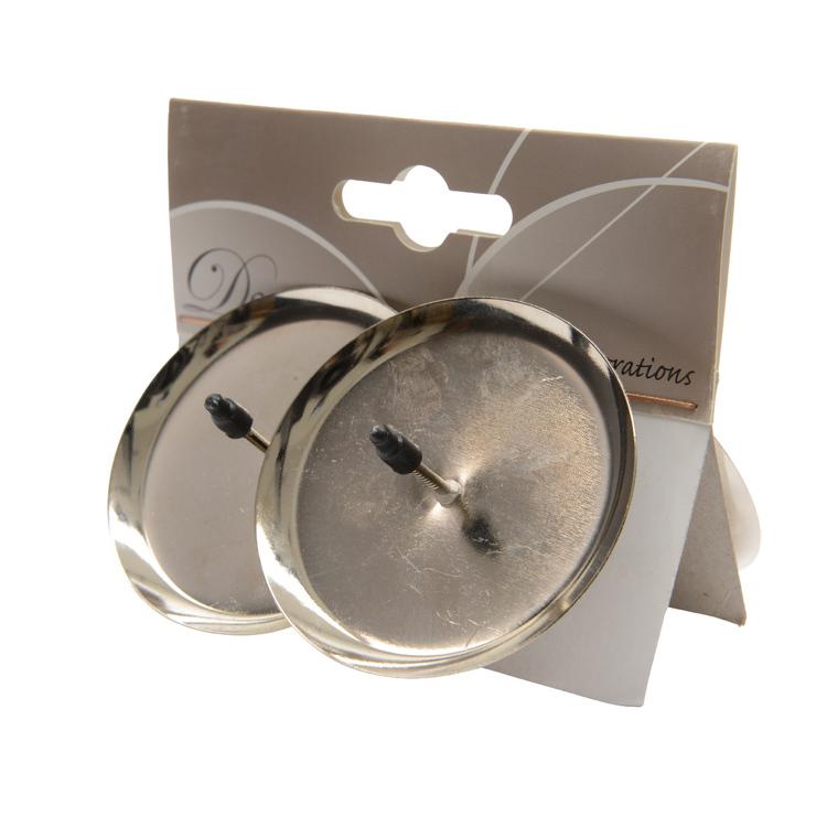 Porte bougie en métal couleur argent – 6 cm de diamètre 249952