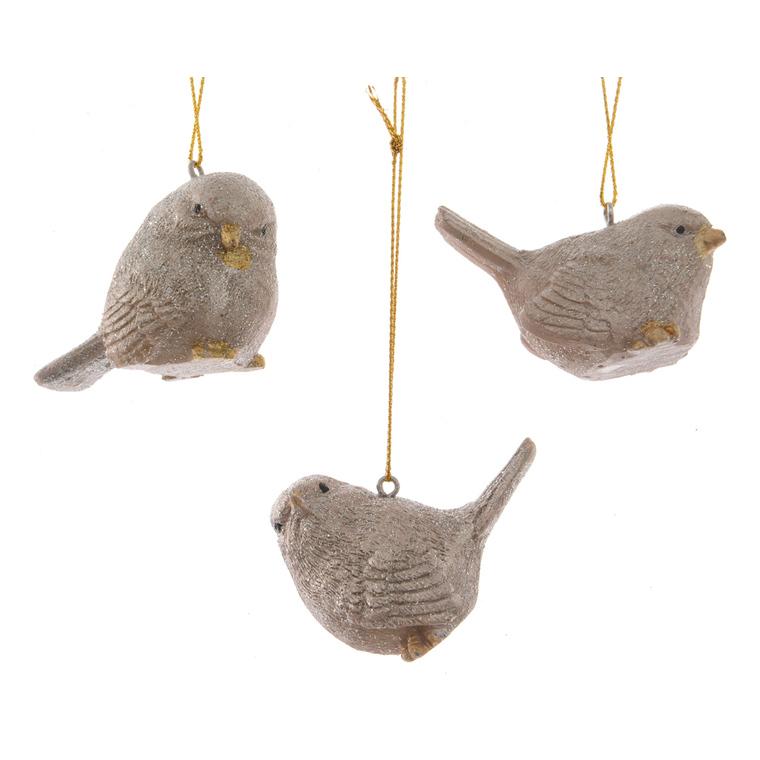 Oiseau à suspendre Gris et or 6,4x3,3x4,8 cm