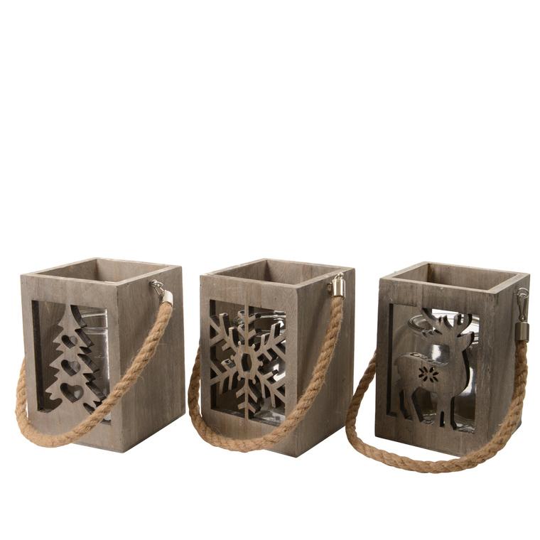 Lanternes en bois de Pauwlonia avec verre - 10x10x15 cm