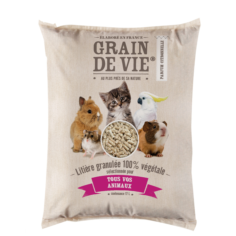 Litière granulée 100% végétale tous animaux Grain de vie® - 17L 253261
