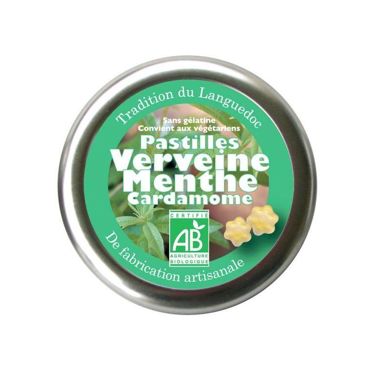 Pastilles à la verveine, menthe et cardamome bio en boite de 45 g 254825