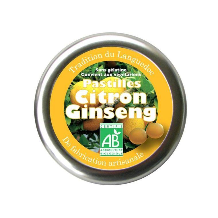 Pastilles au citron et au ginseng bio en boite de 45 g 254826