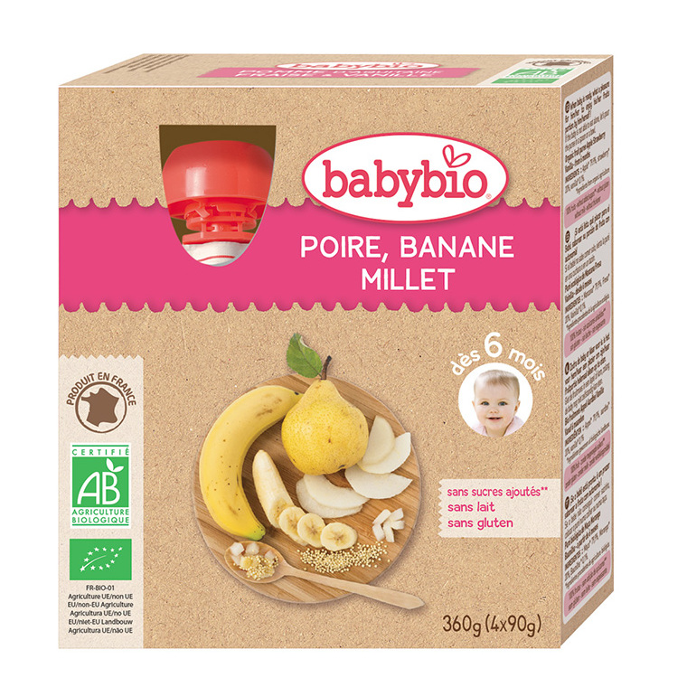 Gourdes Poire Banane Millet bio dès 6 mois - 4 x 90 gr 255622