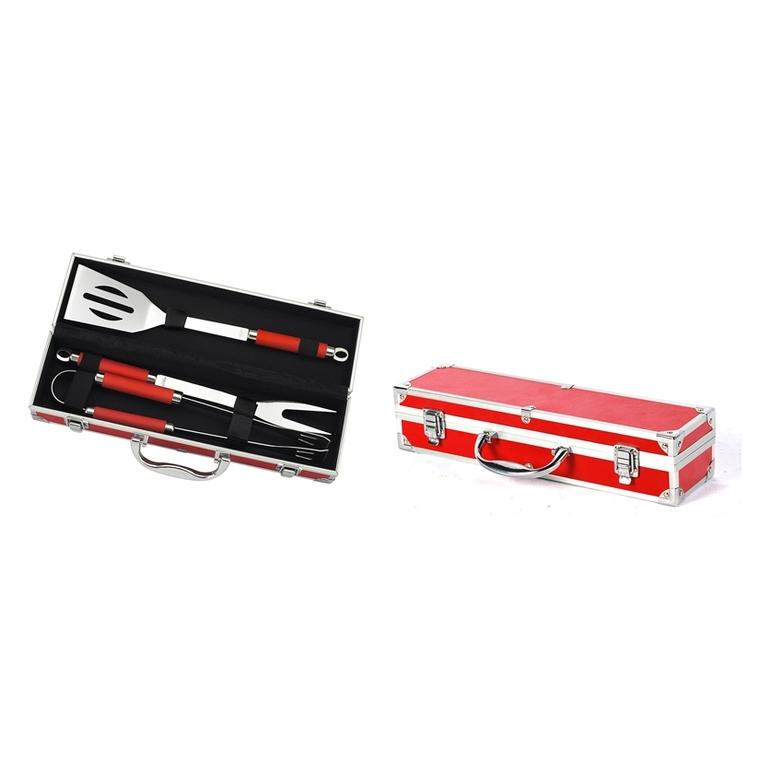 Mallette rouge 3 ustensiles (pince, spatule et fourchette) Le Marquier 257865