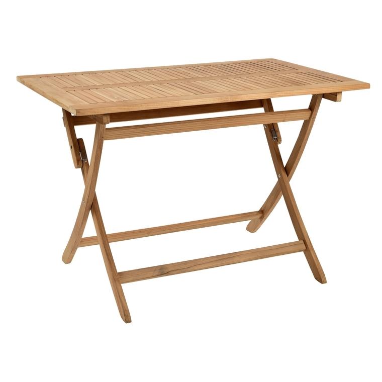 Table de jardin rectangulaire pliante en teck massif 110 x 70 x 74 cm 259665