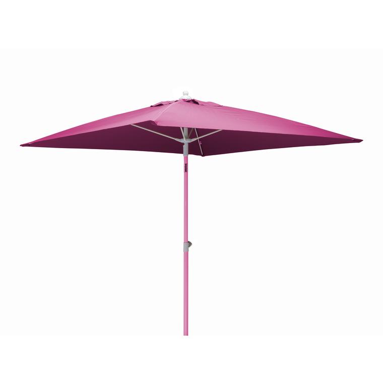 Parasol carré framboise 2 m mât télescopique