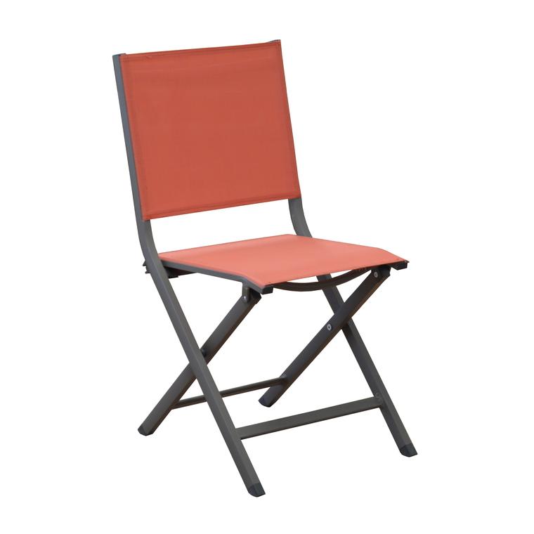Chaise pliante MAX alu et textilène café/paprika 259797