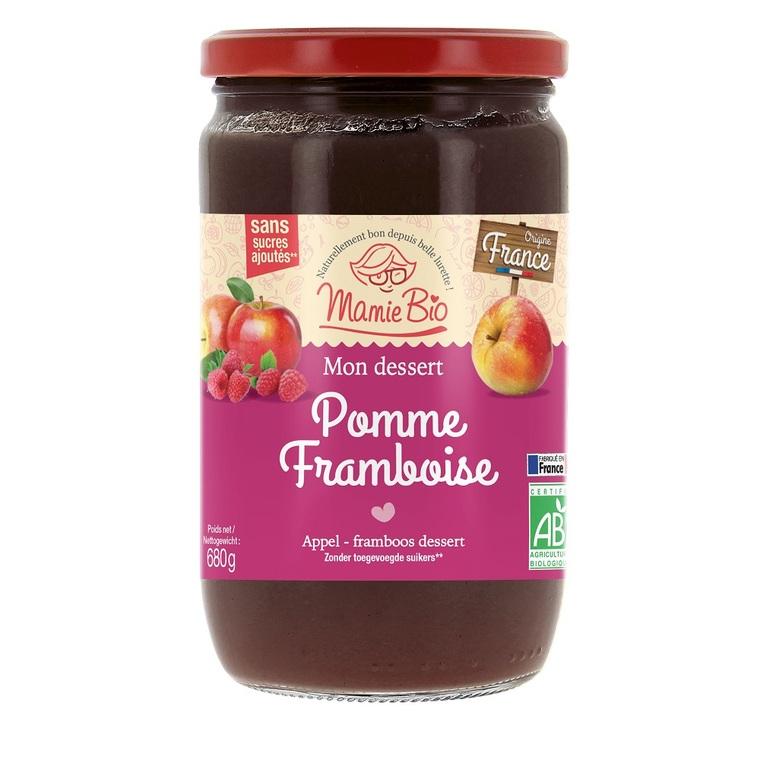 Compote bio pommes framboises sans sucres ajoutés - 680 g 260389