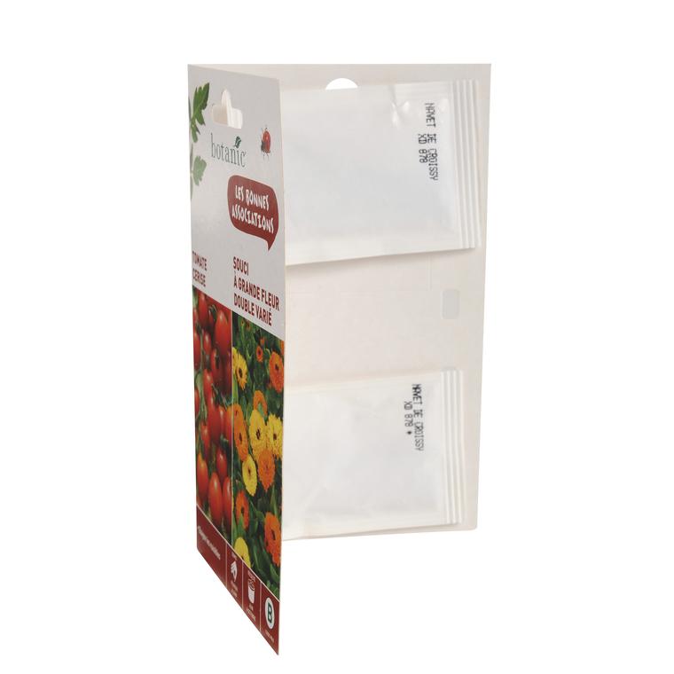 Tomate cerise + souci a grande fleur double varie Duo compagne 261320