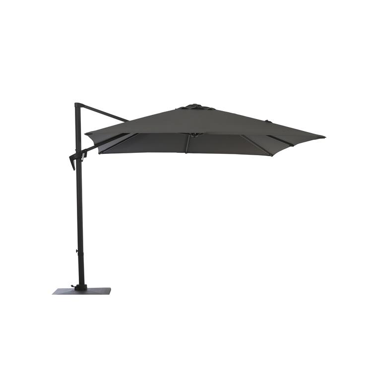 Parasol déporté à manivelle carré 2,5 m gris 262503
