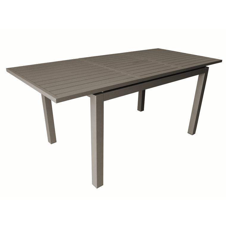 Table aluminium à rallonges TRIESTE café 130/180x80