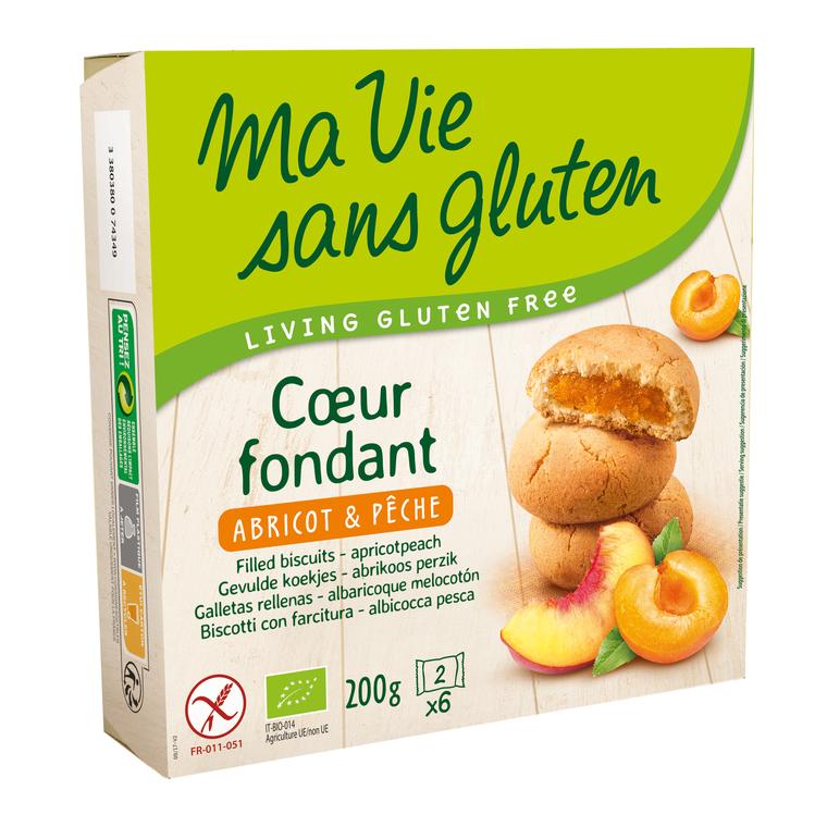 Biscuit Cœur fondant abricot-pêche - 200 gr