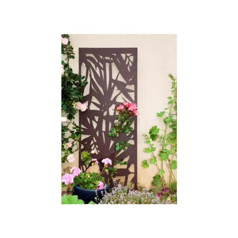 Panneau décoratif en métal panel N° 5, motifs feuilles, 60 x 150 cm